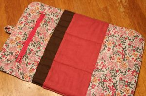 Tri-fold interchangeable knitting needle case made by me.
