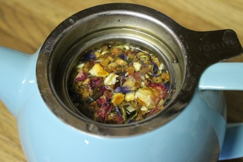 """Charmed"" Tea (dried orange slices, rose hips, rose petals and borage petals), from a tea shop I perused once."