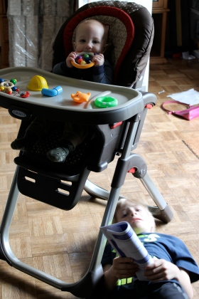 Adyn just finished putting it together. It is the awesomest highchair ever. It folds down to nothing. Easy to clean. You can take off the seat as use it as a booster. It adjusts a zillion different ways and is EASY PEASY. Thank you SO MUCH Clark Cowlitz Farm Bureau friends! We  it!