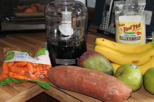 Big shopping day yesterday. Organic produce and a mini food processor (thanks Cynthia Hoffman!).