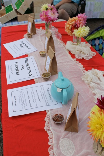 Setting up our table at Velvet Acres, sampling teas