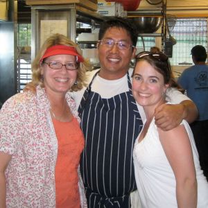Anne Lawrence of Storytree Farm, Chef Mark, and I in the kitchen.