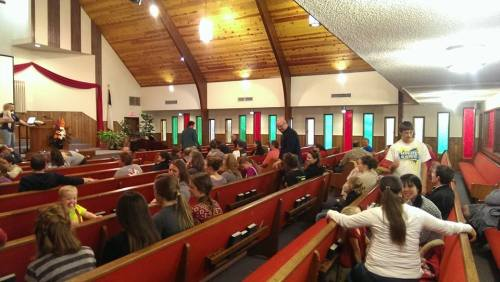 Gathering to pray for the Steenbargers.  ~ Rachel D.